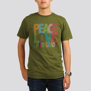 Peace Love Third Grade Organic Men's T-Shirt (dark