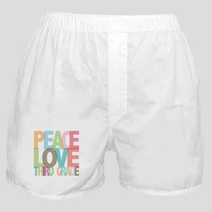 Peace Love Third Grade Boxer Shorts