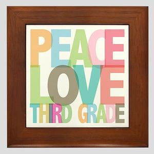 Peace Love Third Grade Framed Tile