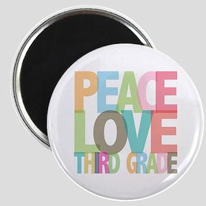 Peace Love Third Grade Magnet