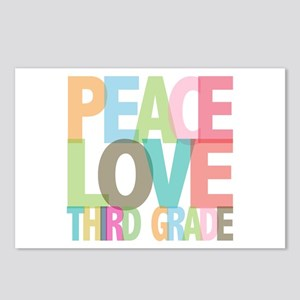 Peace Love Third Grade Postcards (Package of 8)