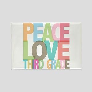 Peace Love Third Grade Rectangle Magnet