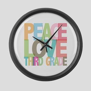 Peace Love Third Grade Large Wall Clock
