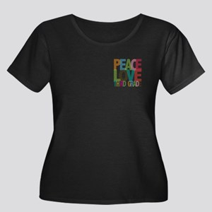 Peace Love Third Grade Women's Plus Size Scoop Nec