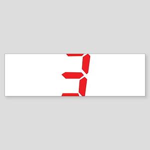 3 three red alarm clock numbe Bumper Sticker