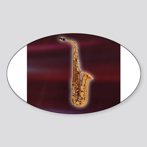 Saxaphone on Red Oval Sticker