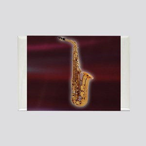 Saxaphone on Red Rectangle Magnet