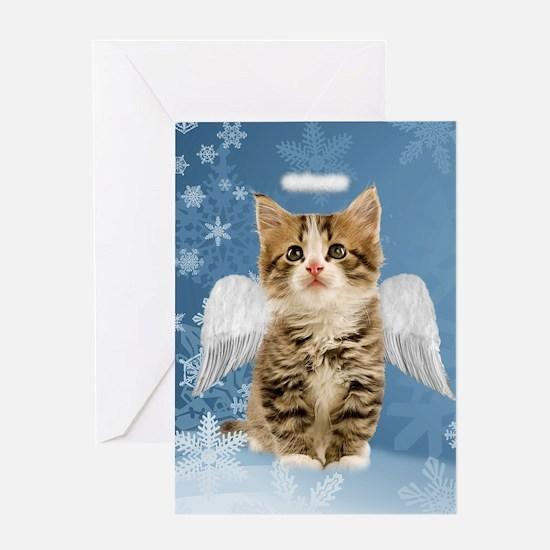 Angel Kitten Christmas Greeting Card