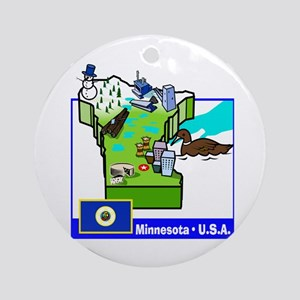 Minnesota Map Ornament (Round)