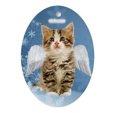 Angel Kitten Christmas Oval Ornament