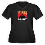 Free Spirit Women's Plus Size V-Neck Dark T-Shirt