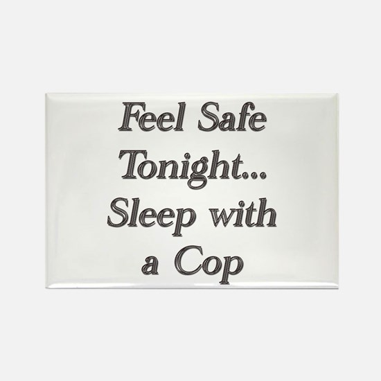 Cute Sleep with a cop Rectangle Magnet