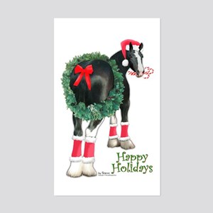 Christmas Shire Draft Horse Rectangle Sticker