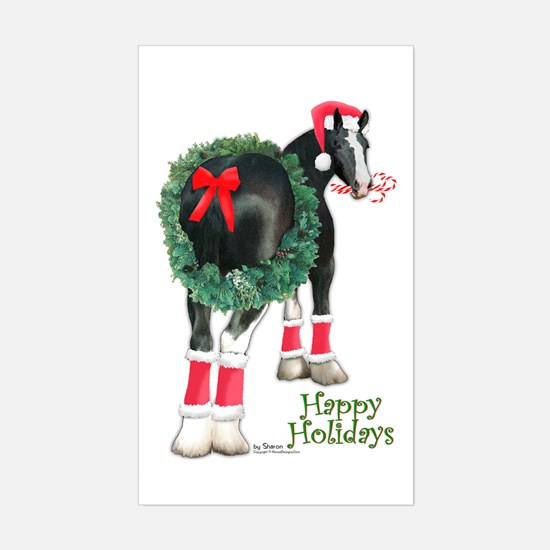 Christmas Shire Draft Horse Rectangle Decal