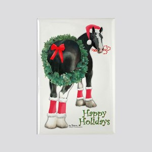 Christmas Shire Draft Horse Rectangle Magnet