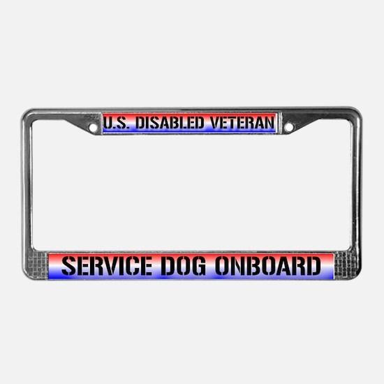 Disabled Veteran / Service Dog License Plate Frame