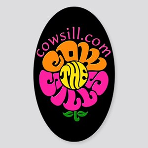 Cowsill Logo (Brights on black) Oval Sticker