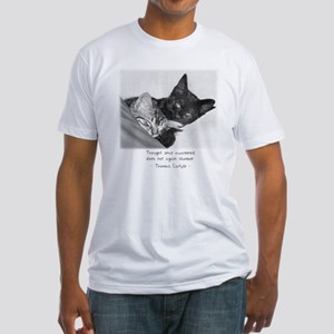 Thinking Cats-And-Quotes Fitted T-Shirt