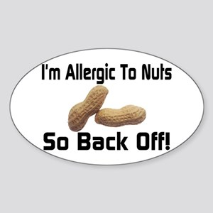 Allergic To Nuts Oval Sticker