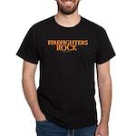 """Fire fighters Rock""Black T-Shirt"