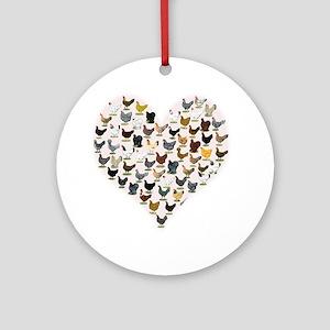 Chicken Heart Round Ornament