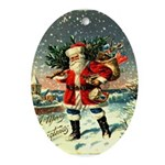 Vintage Santa Christmas Oval Ornament