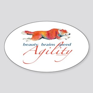 Beauty, Brains and Speed Oval Sticker