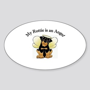 My Rottie is an Angel Oval Sticker