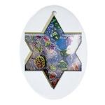 Jewish Star Oval Ornament