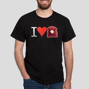 I Love Toast Black T-Shirt