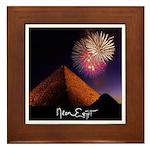 Neon Egypt Fireworks Pyramid Framed Tile