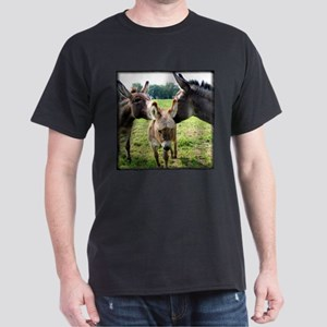 Miniature Donkey Family Black T-Shirt