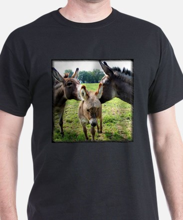 Miniature Donkey Family Black T-Shirt