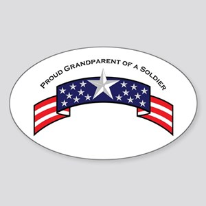 Proud Grandparent of a Soldie Oval Sticker