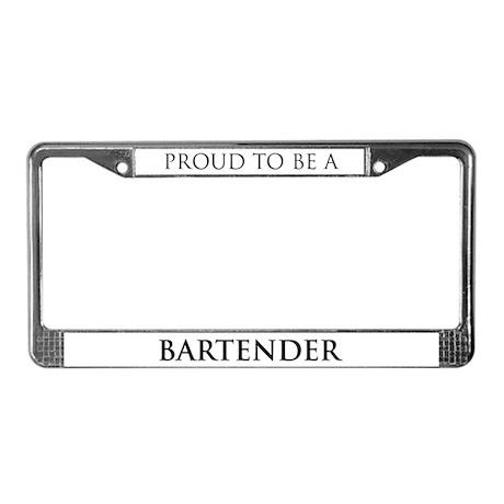 Proud Bartender License Plate Frame