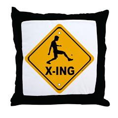 Foot Bag X-ing Throw Pillow