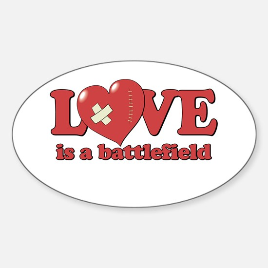 Love is a Battlefield Oval Decal