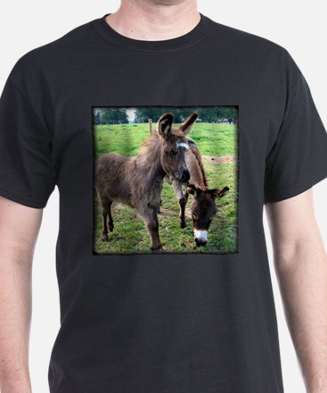 Baby Miniature Donkey & Mom Black T-Shirt