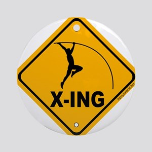 Pole Vault X-ing Ornament (Round)