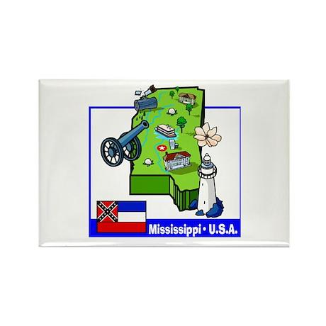Mississippi Map Rectangle Magnet