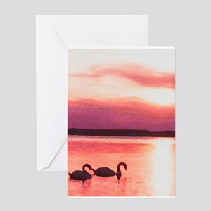 SunsetSwans-8x10 Greeting Cards