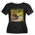 Wild Tur Women's Plus Size Scoop Neck Dark T-Shirt