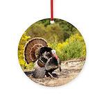 Wild Turkey Gobbler Round Ornament