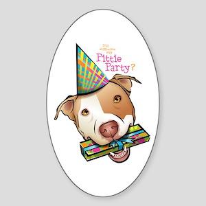 Pittie Party Oval Sticker