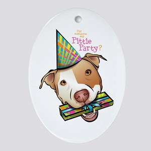 Pittie Party Oval Ornament