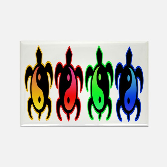 Multicolor Yin Yang Turtles Rectangle Magnet