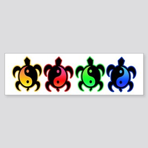 Multicolor Yin Yang Turtles Bumper Sticker