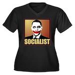 Socialist Joker Women's Plus Size V-Neck Dark T-Sh