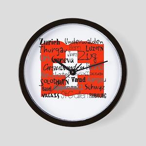 Swiss Cantons Flag Wall Clock