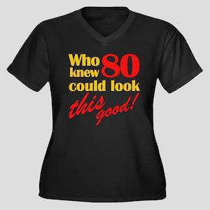 Funny 80th Birthday Gag Gifts Women's Plus Size V-
